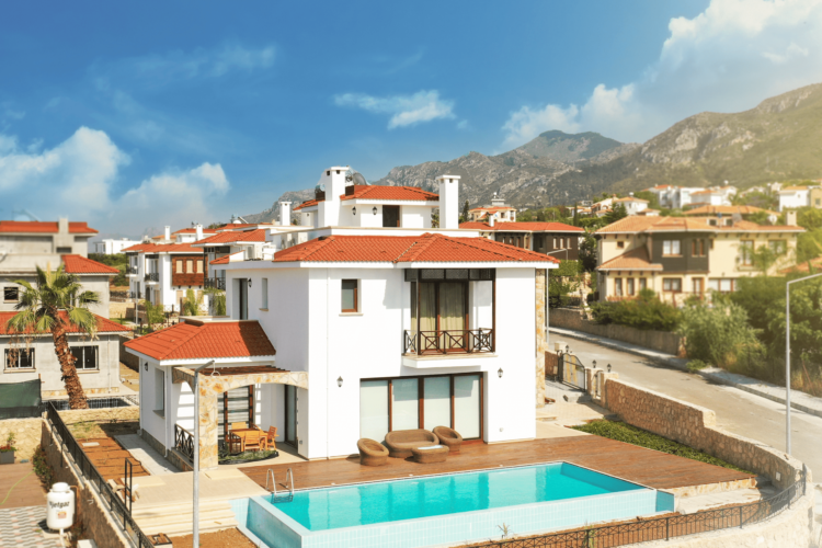 Luxurious two-story villa 3+1 with roof terrace, garden and pool in Bellapais area