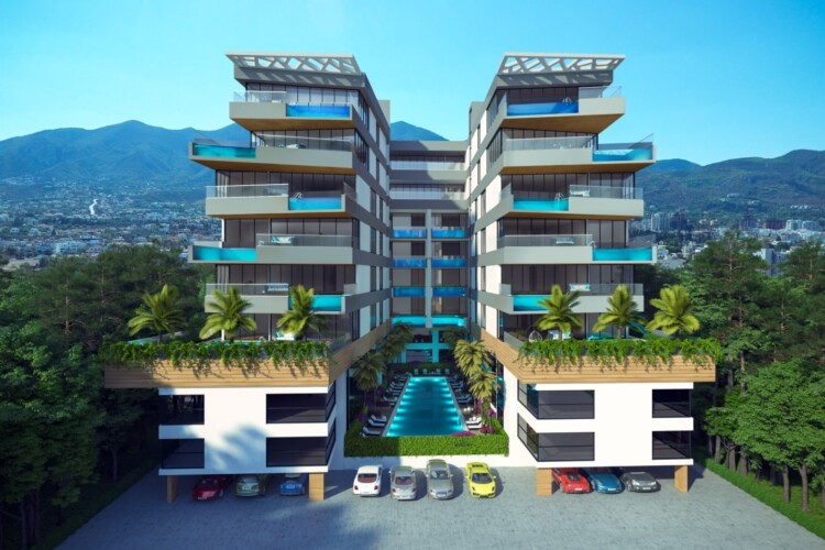 New modern apartment 3 + 1 with a private pool on the seafront, in Kyrenia