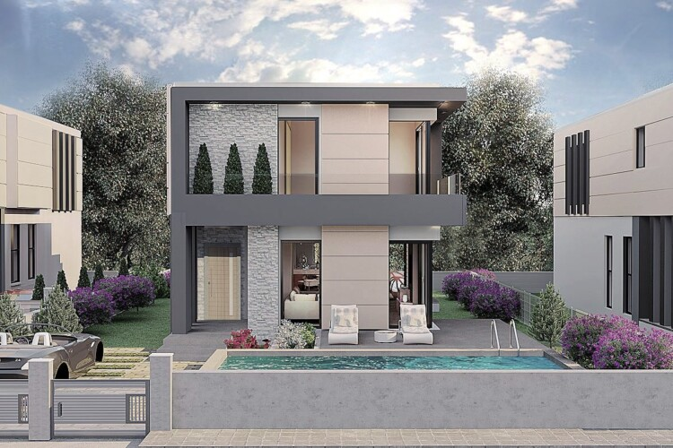 New two-story villa 3+1 in Ozanköy, just 10 minutes from the Mediterranean coast
